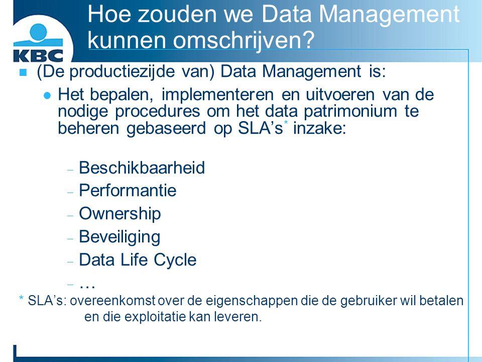 Hoe zouden we Data Management kunnen omschrijven