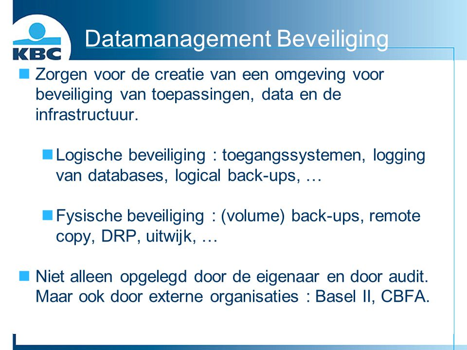 Datamanagement Beveiliging