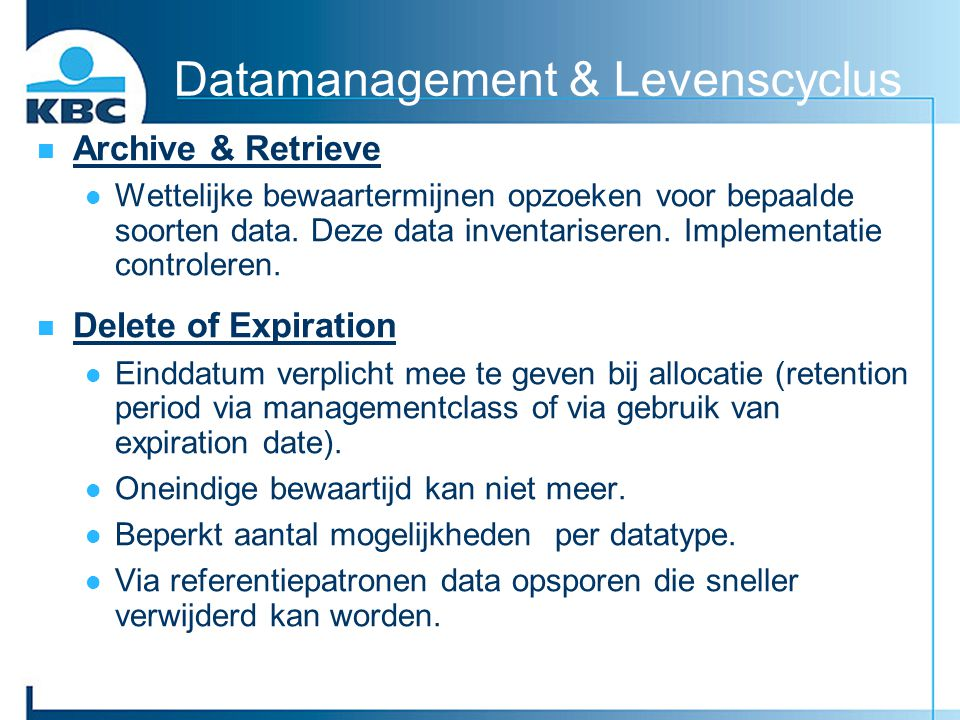 Datamanagement & Levenscyclus