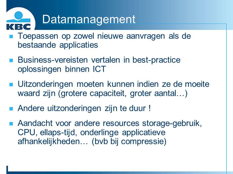 Datamanagement Toepassen op zowel nieuwe aanvragen als de bestaande applicaties.