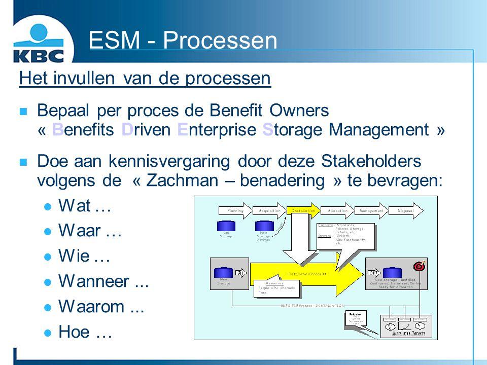 ESM - Processen Het invullen van de processen