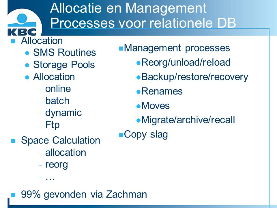 Allocatie en Management Processes voor relationele DB