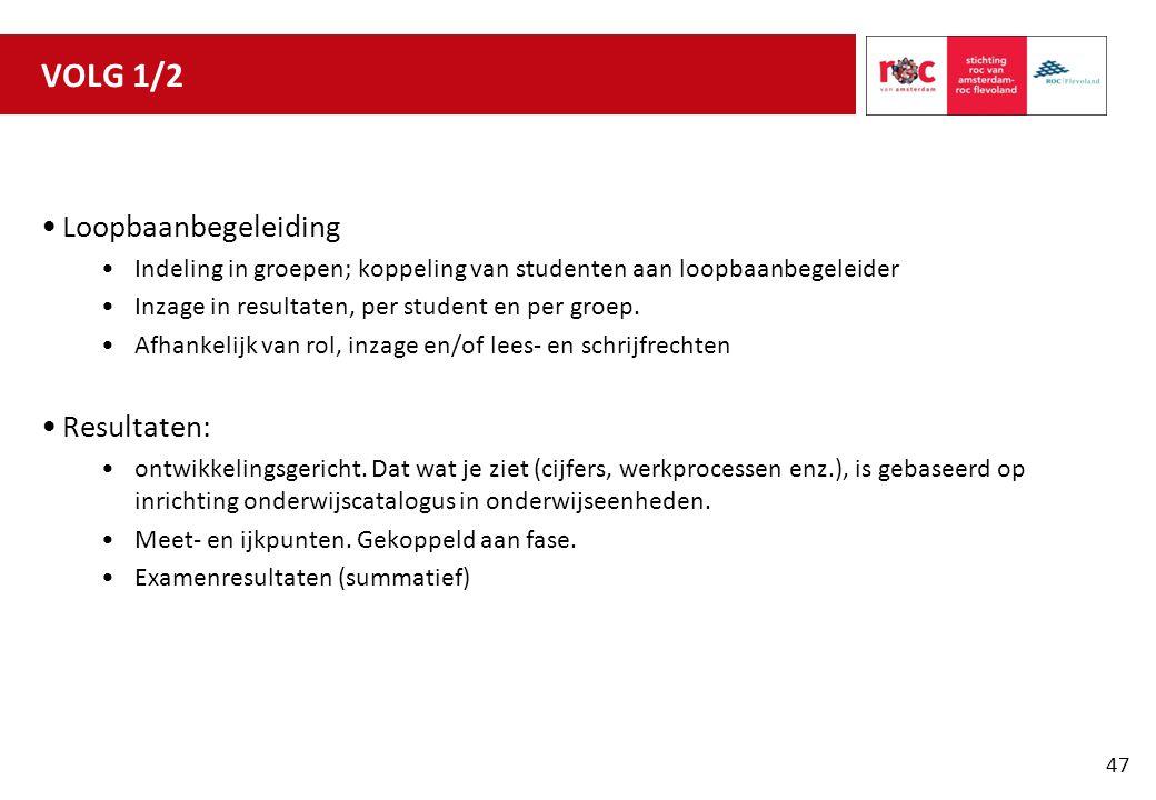 VOLG 1/2 Loopbaanbegeleiding Resultaten: