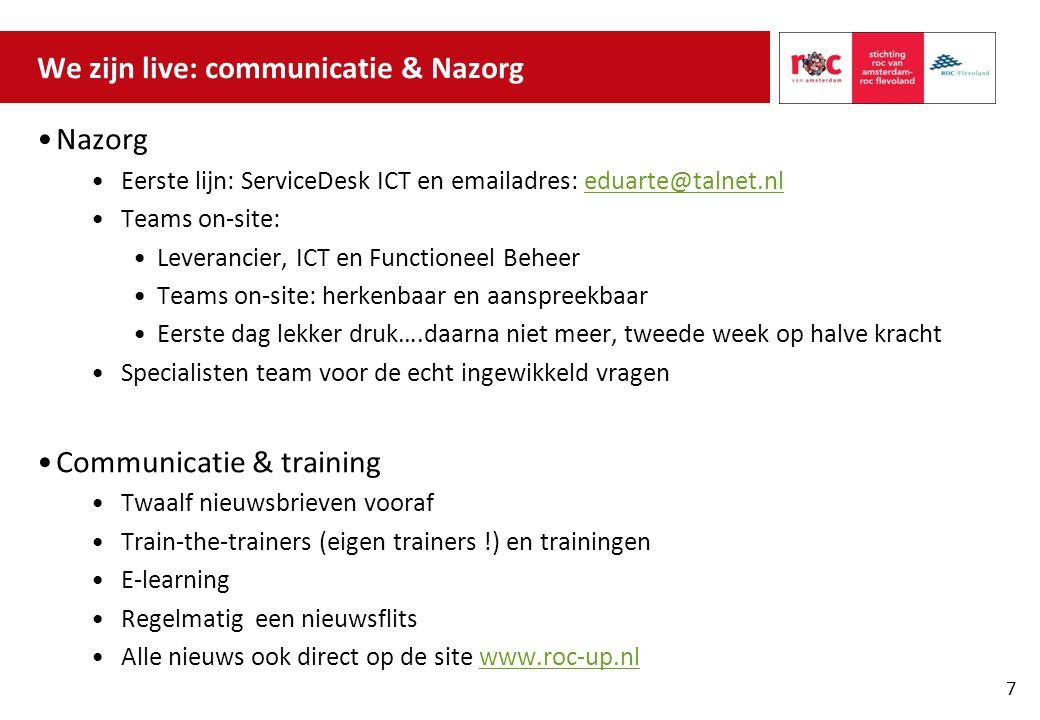 We zijn live: communicatie & Nazorg