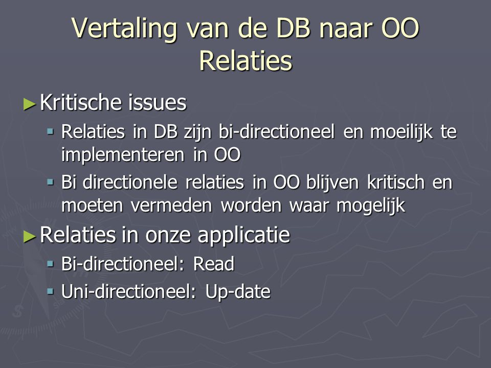 Vertaling van de DB naar OO Relaties