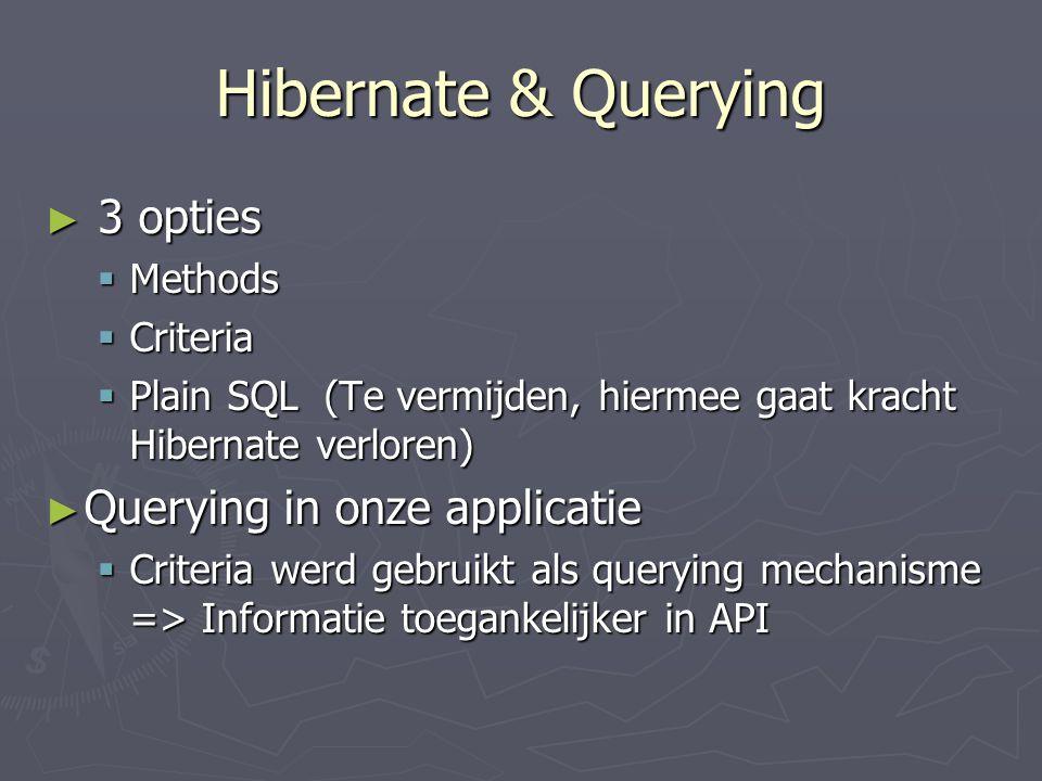 Hibernate & Querying 3 opties Querying in onze applicatie Methods