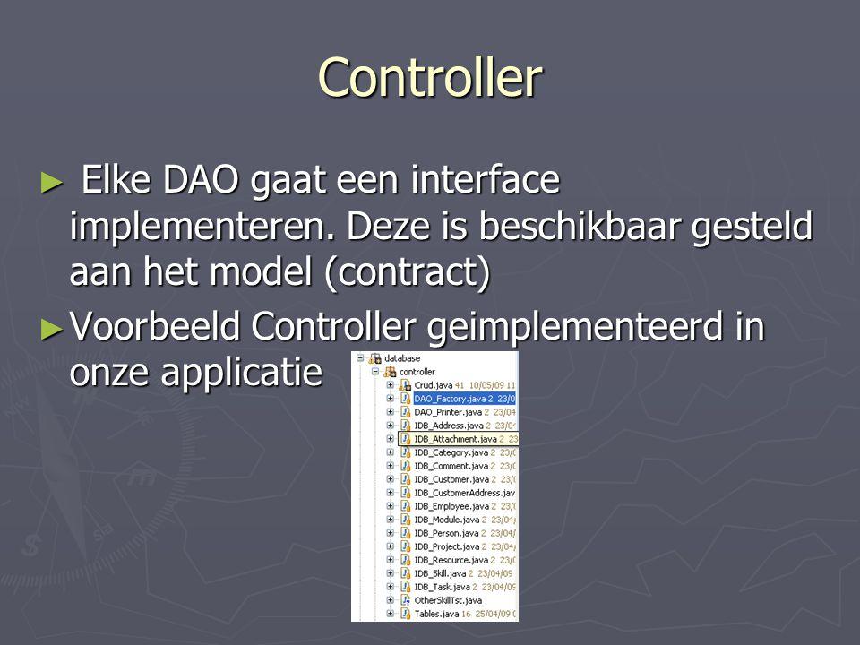 Controller Elke DAO gaat een interface implementeren. Deze is beschikbaar gesteld aan het model (contract)