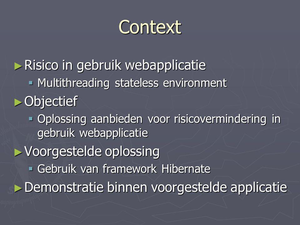Context Risico in gebruik webapplicatie Objectief