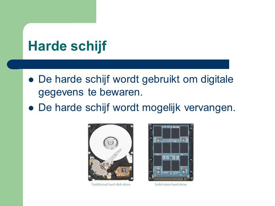Harde schijf De harde schijf wordt gebruikt om digitale gegevens te bewaren.