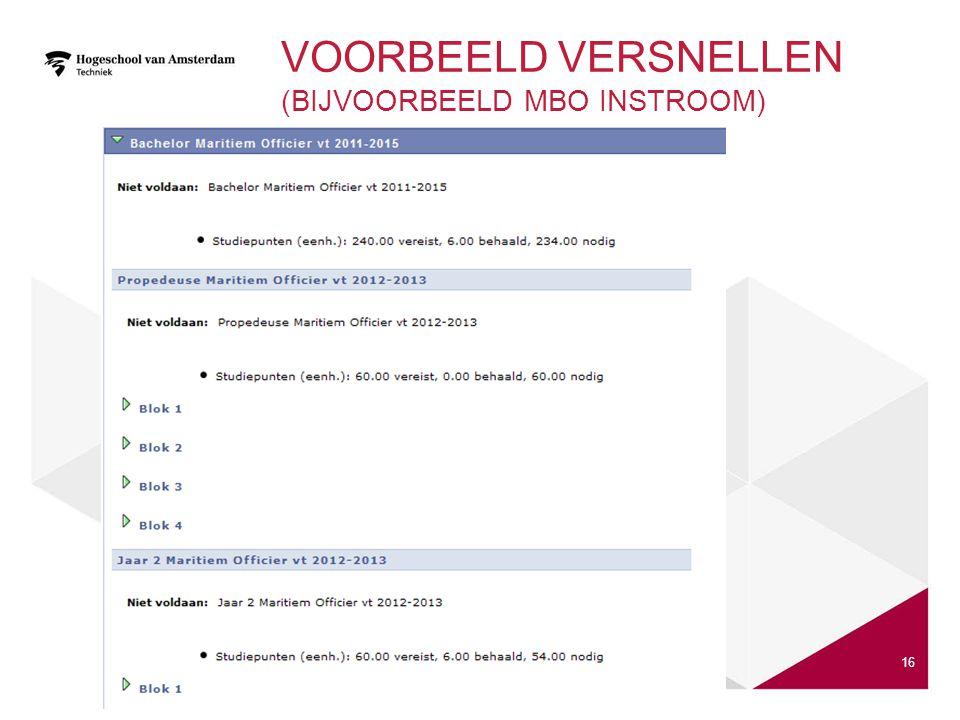 Voorbeeld Versnellen (bijvoorbeeld MBO instroom)