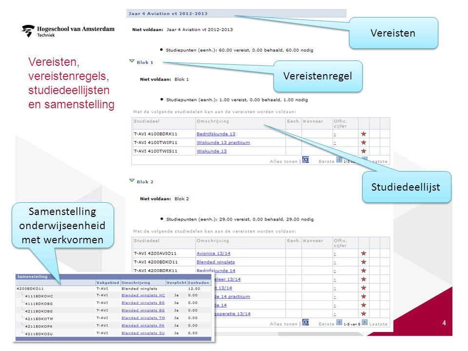 Vereisten, vereistenregels, studiedeellijsten en samenstelling