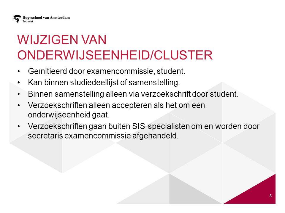 Wijzigen van onderwijseenheid/cluster