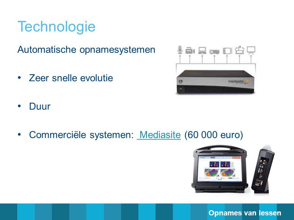 Technologie Automatische opnamesystemen Zeer snelle evolutie Duur