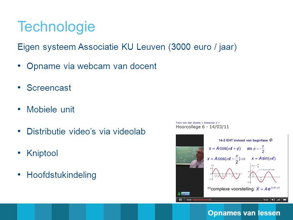 Technologie Eigen systeem Associatie KU Leuven (3000 euro / jaar)