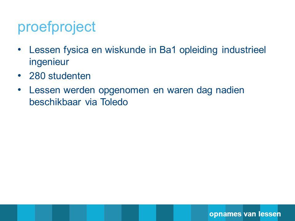 proefproject Lessen fysica en wiskunde in Ba1 opleiding industrieel ingenieur. 280 studenten.