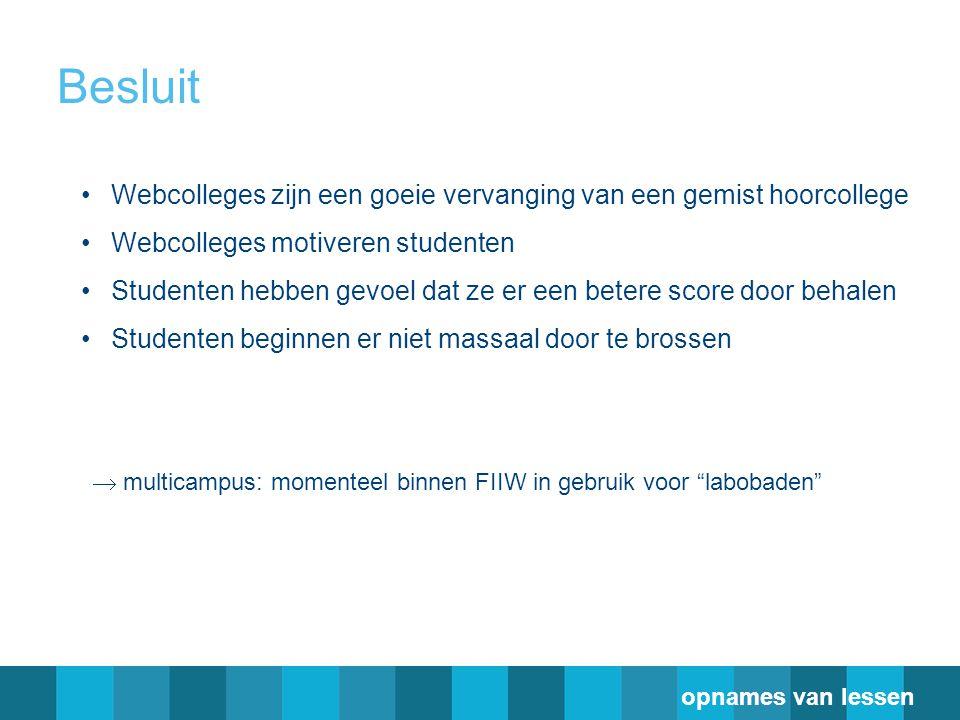 Besluit Webcolleges zijn een goeie vervanging van een gemist hoorcollege. Webcolleges motiveren studenten.