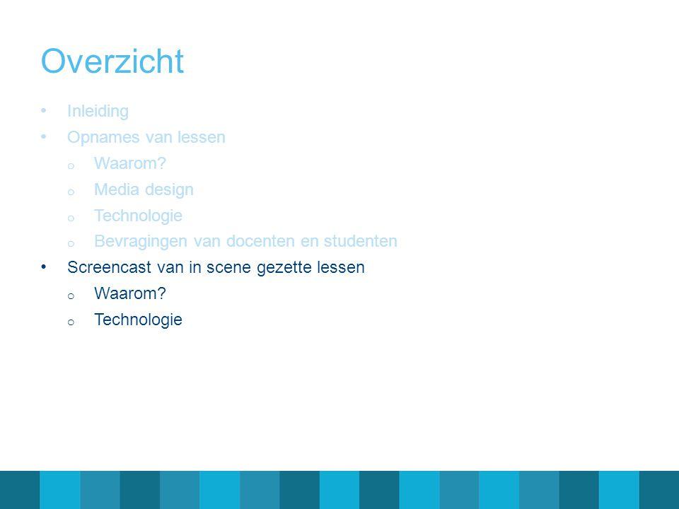 Overzicht Inleiding Opnames van lessen Waarom Media design
