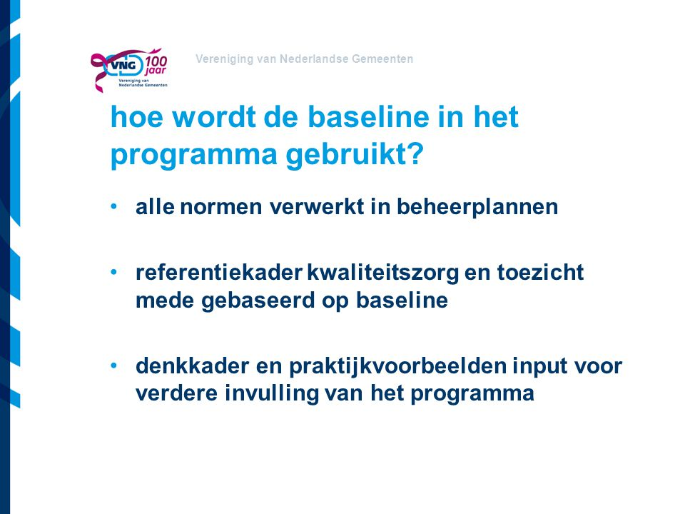 hoe wordt de baseline in het programma gebruikt