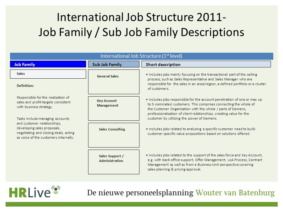 International Job Structure (1st level)
