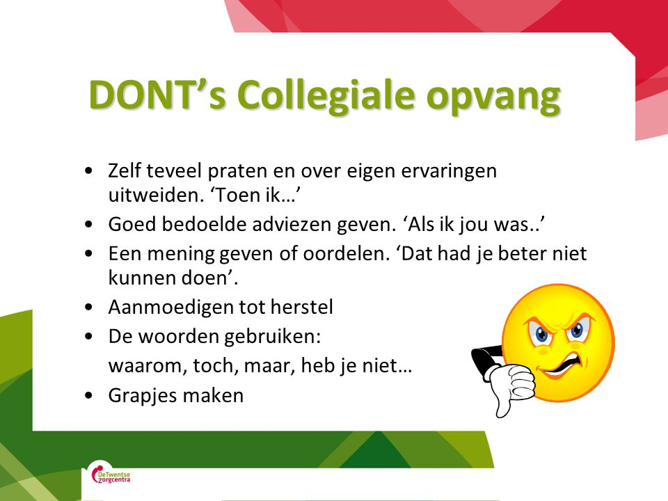 DONT's Collegiale opvang