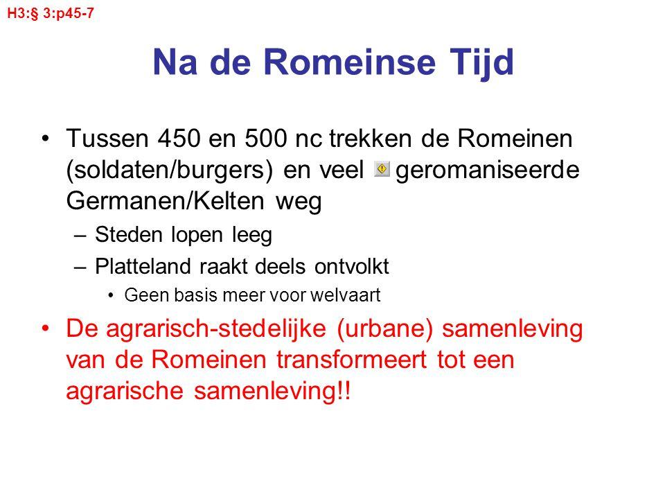 H3:§ 3:p45-7 Na de Romeinse Tijd. Tussen 450 en 500 nc trekken de Romeinen (soldaten/burgers) en veel geromaniseerde Germanen/Kelten weg.