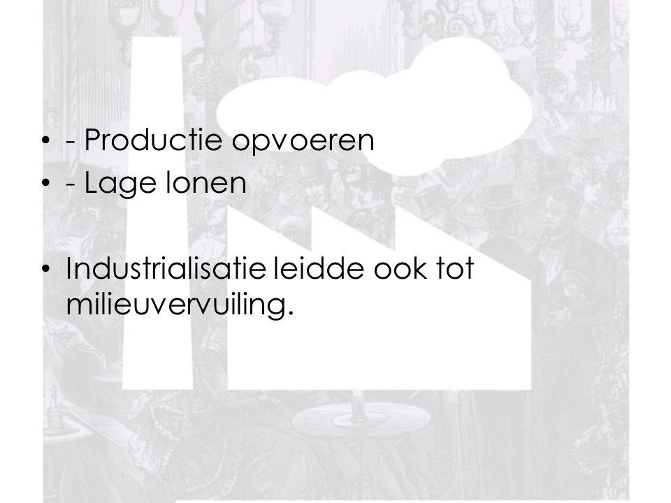 - Productie opvoeren - Lage lonen Industrialisatie leidde ook tot milieuvervuiling.
