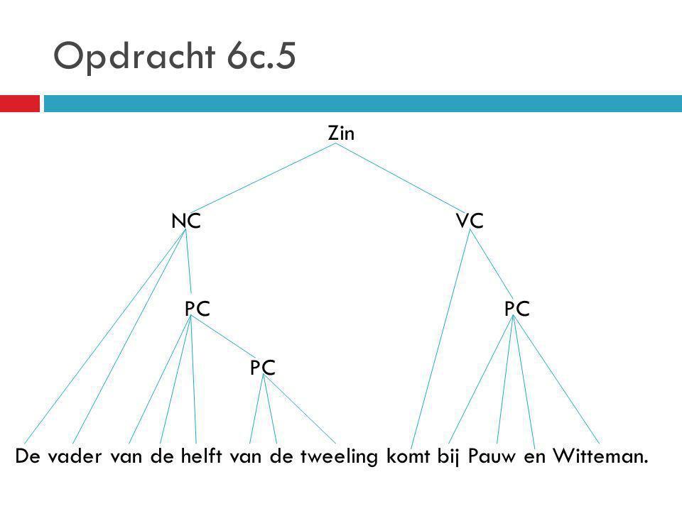 Opdracht 6c.5 Zin NC VC PC PC PC De vader van de helft van de tweeling komt bij Pauw en Witteman.