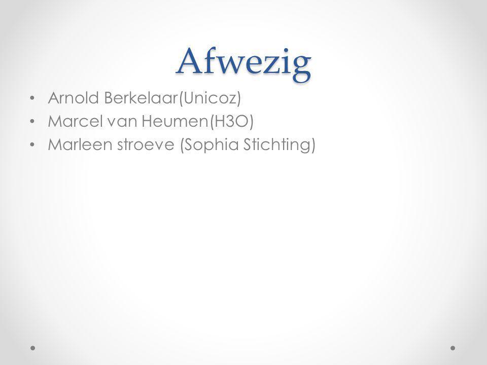 Afwezig Arnold Berkelaar(Unicoz) Marcel van Heumen(H3O)