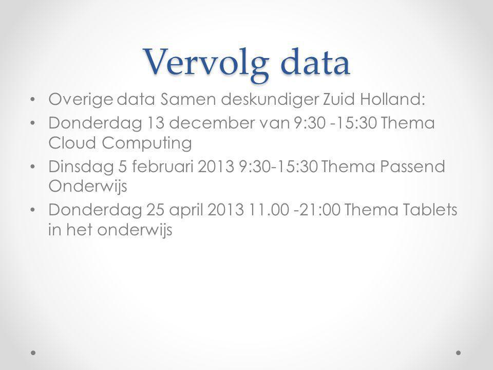 Vervolg data Overige data Samen deskundiger Zuid Holland: