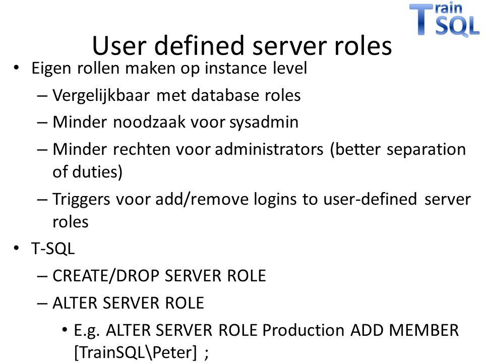 User defined server roles