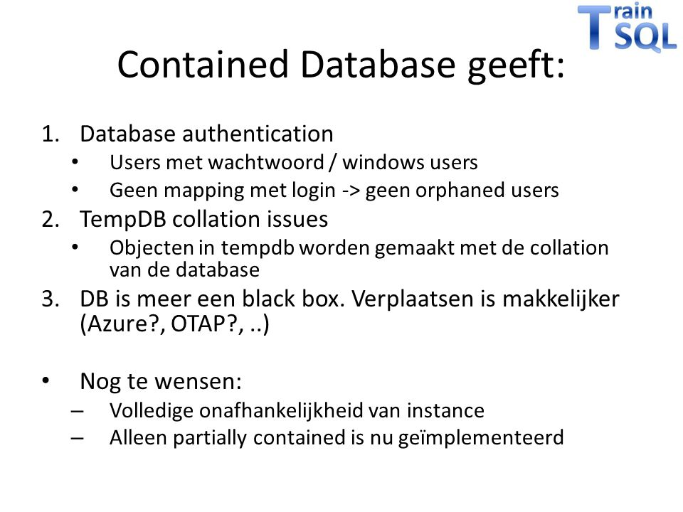 Contained Database geeft: