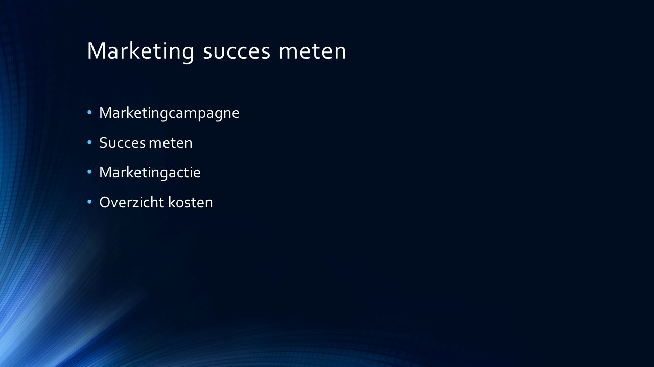 Marketing succes meten