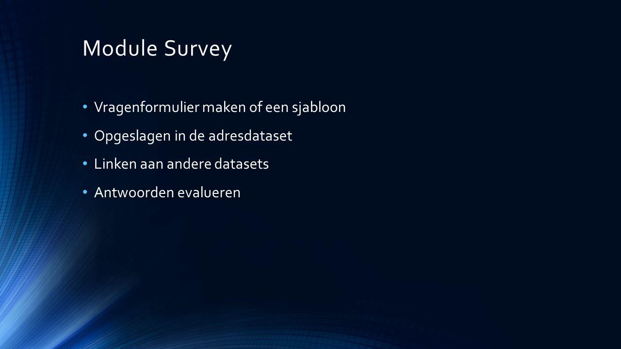Module Survey Vragenformulier maken of een sjabloon