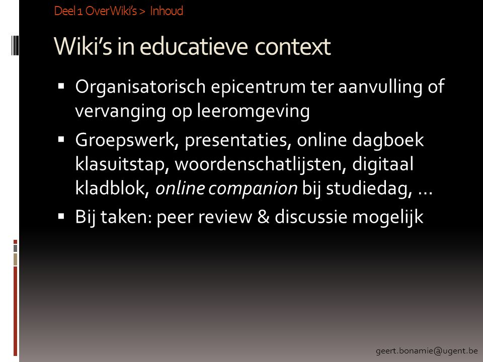 Wiki's in educatieve context