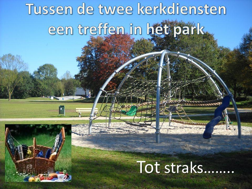 Tussen de twee kerkdiensten een treffen in het park
