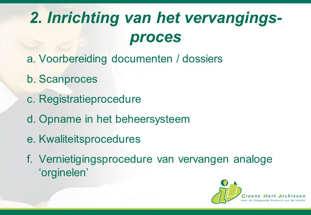 2. Inrichting van het vervangings-proces