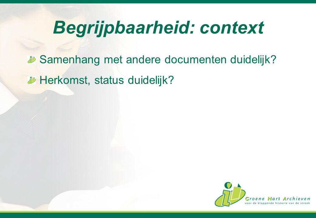 Begrijpbaarheid: context
