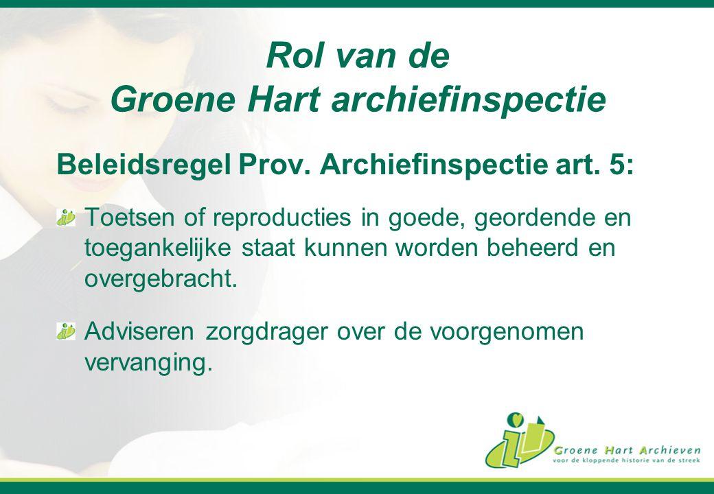 Rol van de Groene Hart archiefinspectie