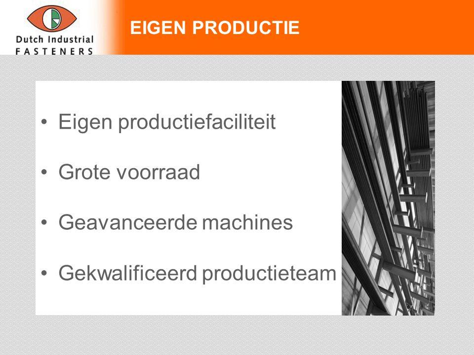 Eigen productiefaciliteit Grote voorraad Geavanceerde machines