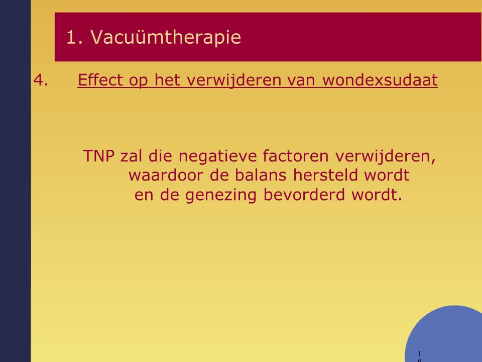 1. Vacuümtherapie Effect op het verwijderen van wondexsudaat