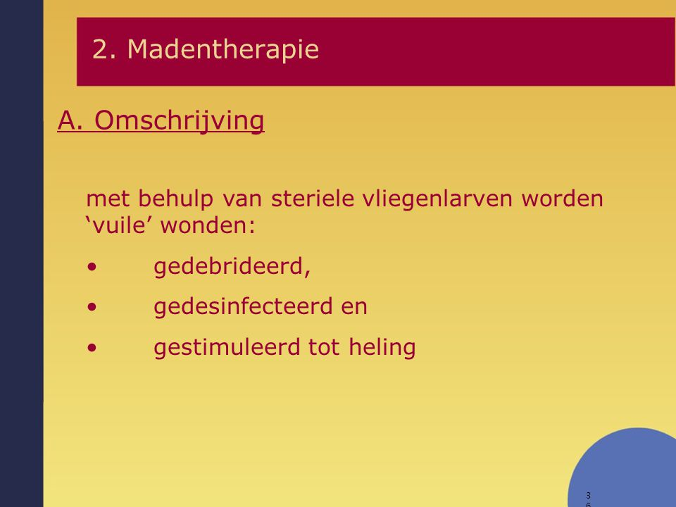 2. Madentherapie A. Omschrijving