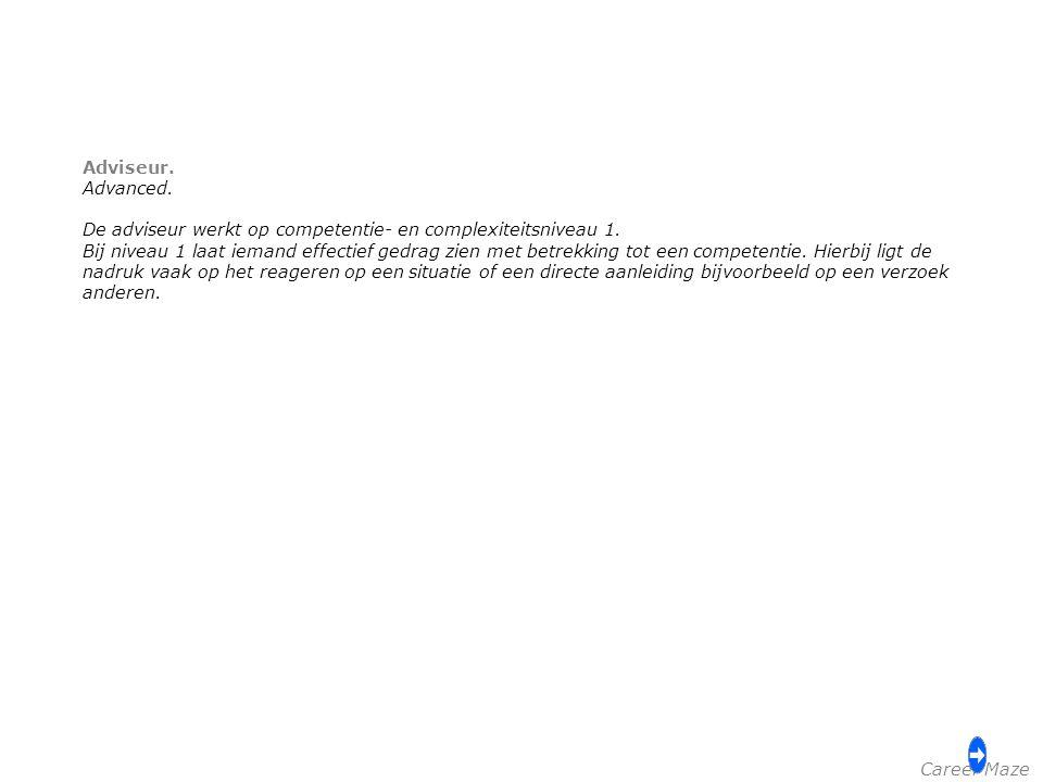 Adviseur. Advanced. De adviseur werkt op competentie- en complexiteitsniveau 1.