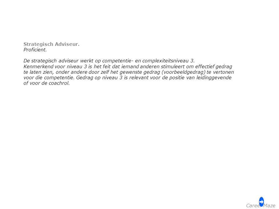 Strategisch Adviseur. Proficient. De strategisch adviseur werkt op competentie- en complexiteitsniveau 3.