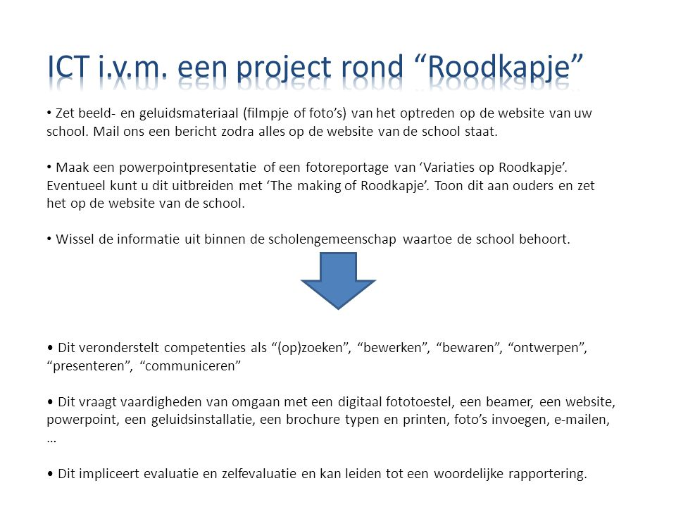 ICT i.v.m. een project rond Roodkapje
