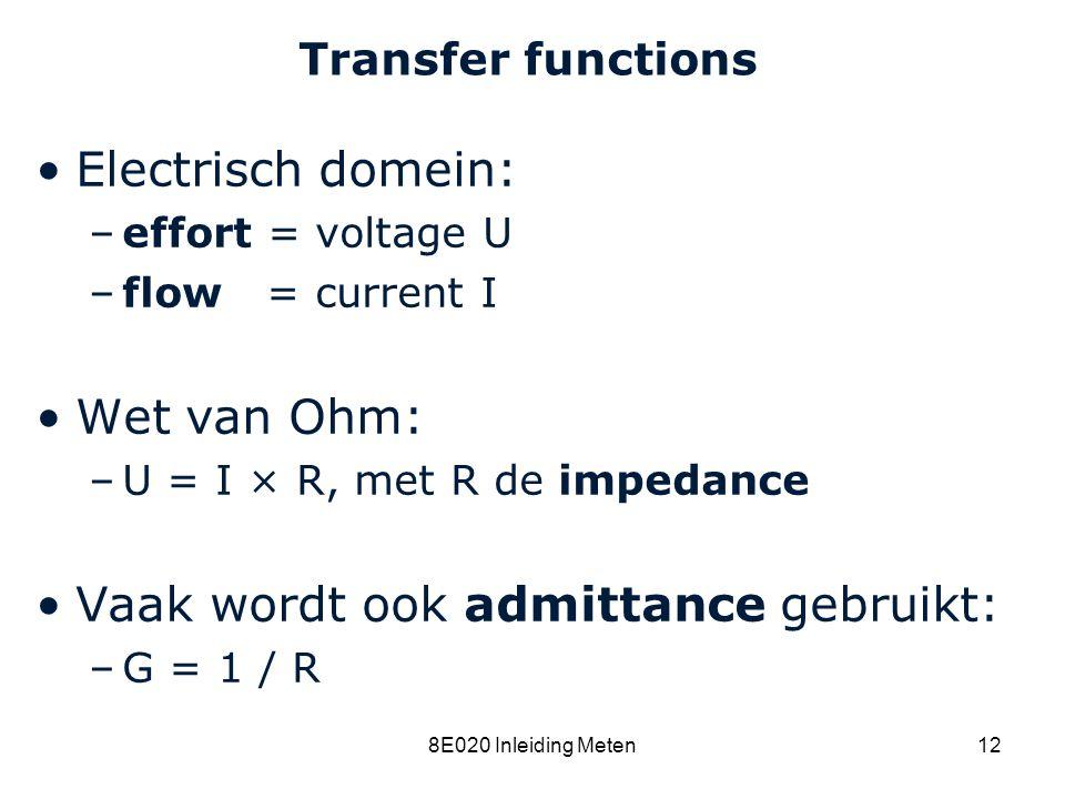 Vaak wordt ook admittance gebruikt: