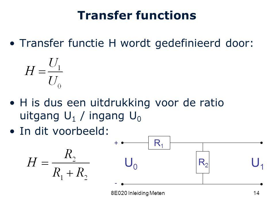 U0 U1 Transfer functions Transfer functie H wordt gedefinieerd door: