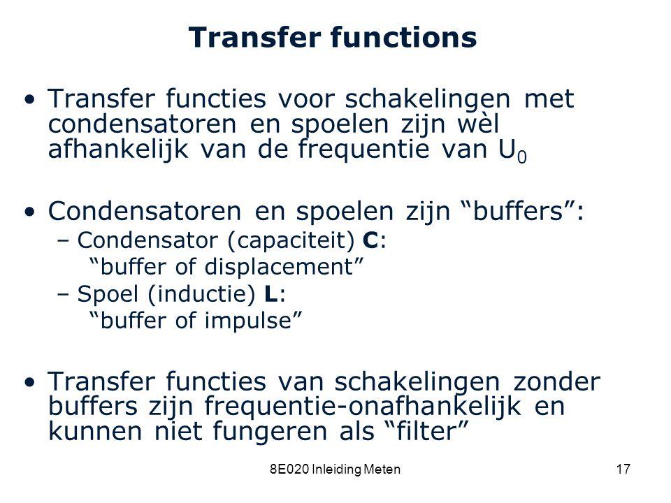 8C120 College 15a Transfer functions. Transfer functies voor schakelingen met condensatoren en spoelen zijn wèl afhankelijk van de frequentie van U0.