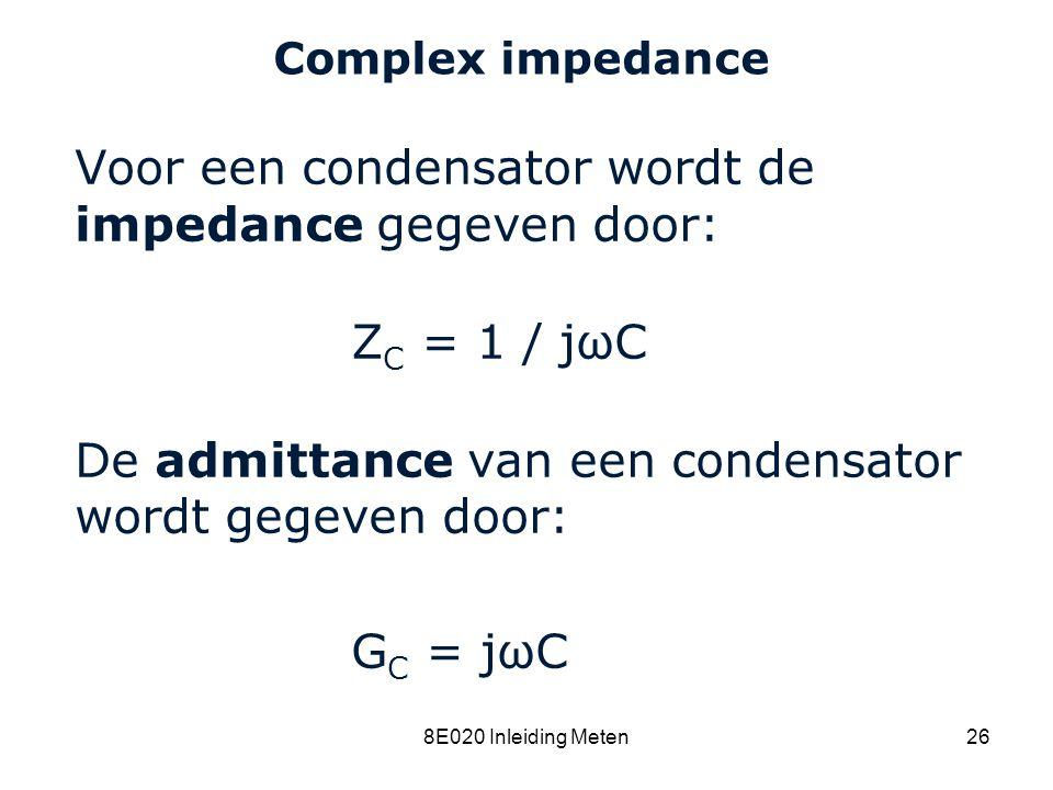 Voor een condensator wordt de impedance gegeven door: