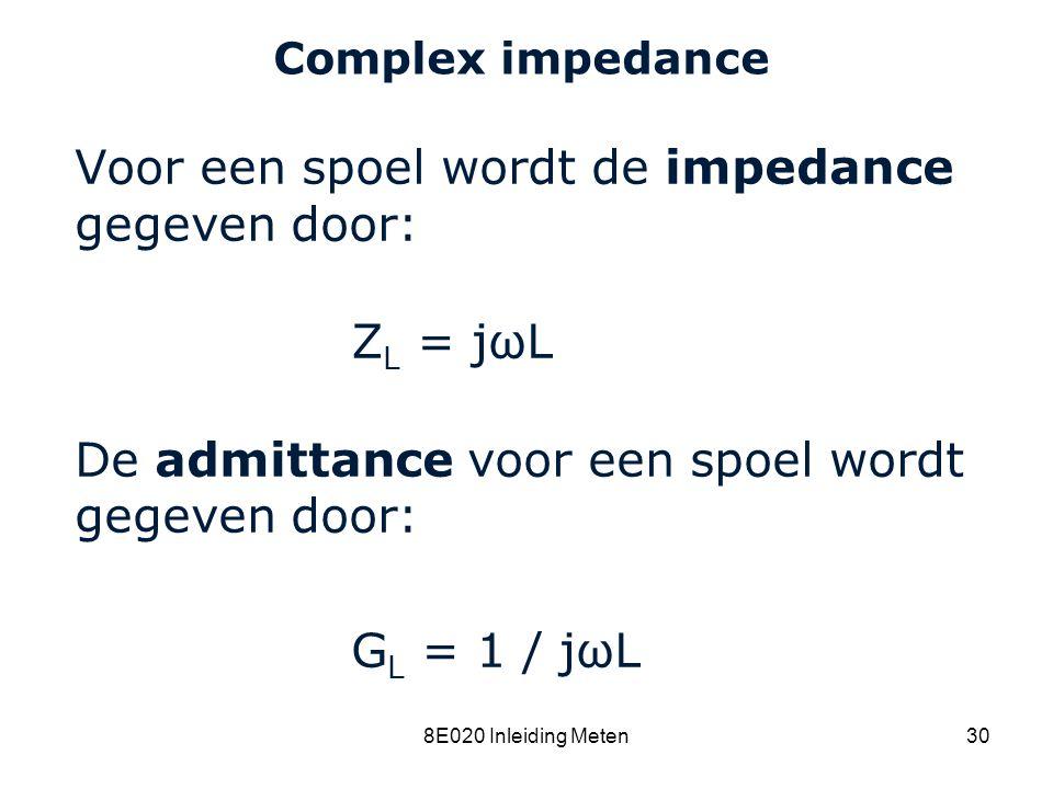 Voor een spoel wordt de impedance gegeven door: