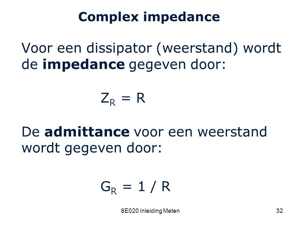 Voor een dissipator (weerstand) wordt de impedance gegeven door: